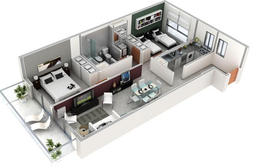 Plano de departamento rectangular de 2 dormitorios y 1 for Modelos de banos para departamentos
